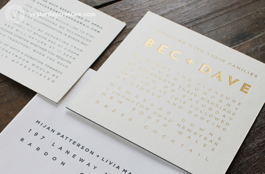 Gold Foil Letterpress Modern Wedding Invitation