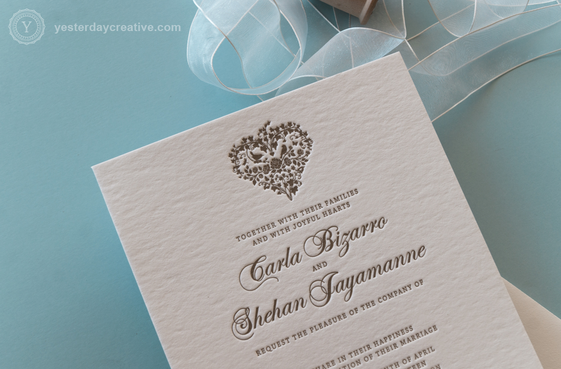 Yesterday Creative Custom Letterpress Calligraphy Heart Wedding Invitation - Heart Monogram Detail