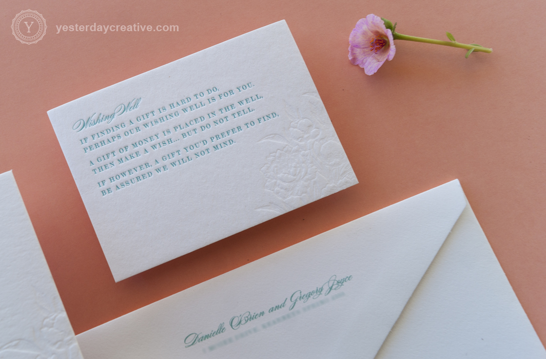 Yesterday Creative Letterpress Wedding Invitation suite 2 Colours Wishing Well Card