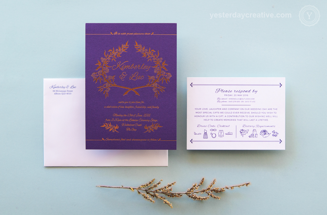 Kimberley & Luc Copper Foil & Purple Custom Wedding Invitation