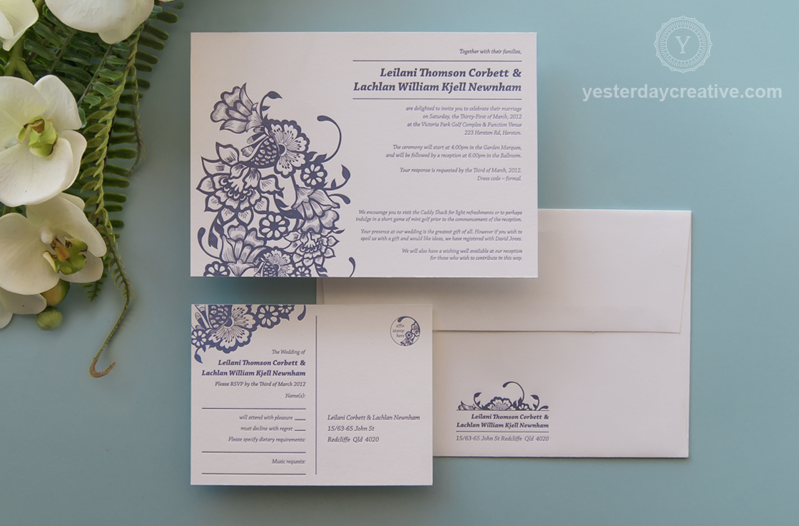 Yesterday Creative Modern Floral and Fern Purple Letterpress Wedding Invitation Suite
