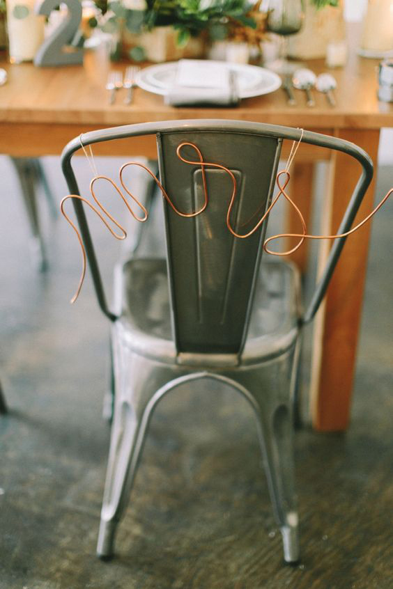 Copper Chair detail - Mrs & Mr Signs Bridal Party Table - Copper & Gold Wedding Styling Inspiration - Yesterday Creative Letterpress - Blog