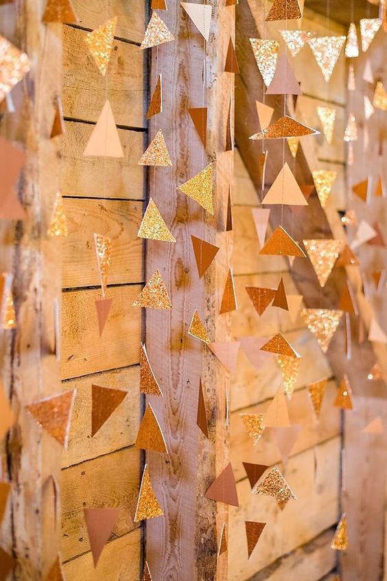 Copper Geometric Glitter Foil Hanging Decoration Reception Copper & Gold Wedding Styling Inspiration - Yesterday Creative Letterpress - Blog