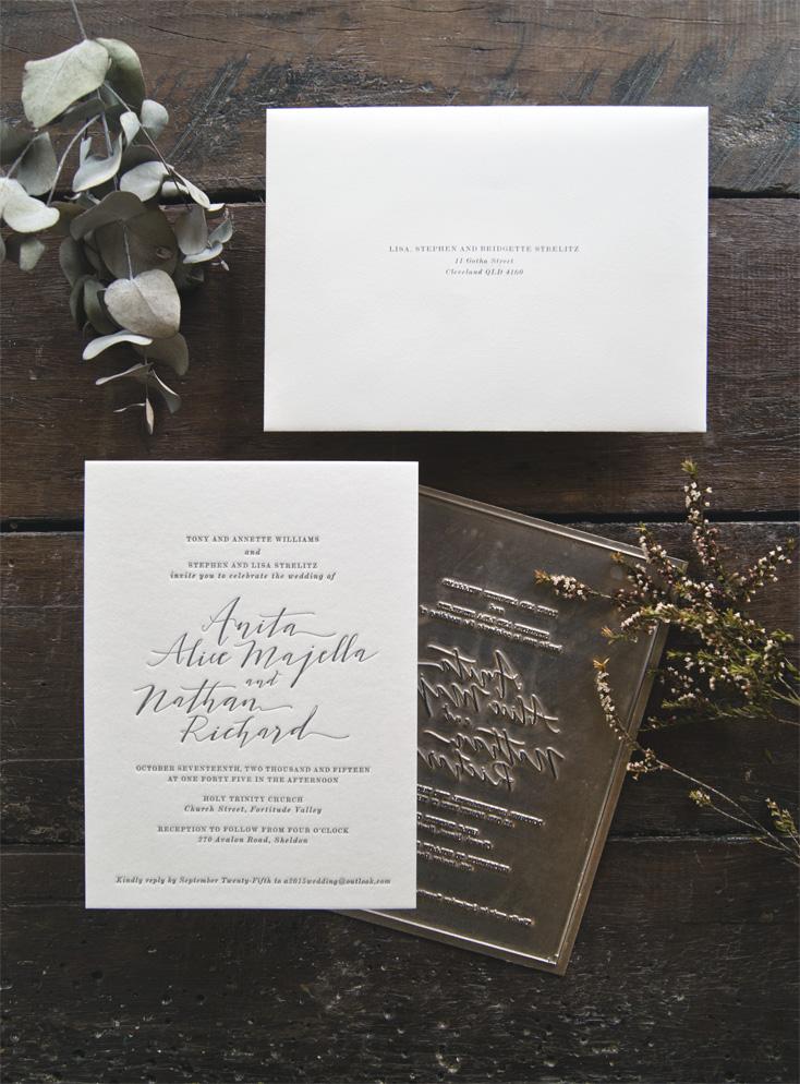Anita & Nathan Letterpress Wedding Invitation by Yesterday Creative