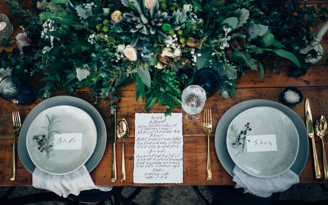 Gold Cutlery - Table Setting - Floral Centrepiece - Hand Type Menu - Placecards - Copper & Gold Wedding Styling Inspiration - Yesterday Creative Letterpress - Blog