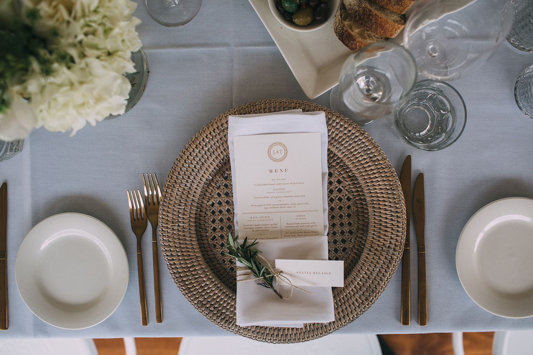 Gold Cutlery with Woven Charger Plate Table Setting and Menus - Copper & Gold Wedding Styling Inspiration - Yesterday Creative Letterpress Blog