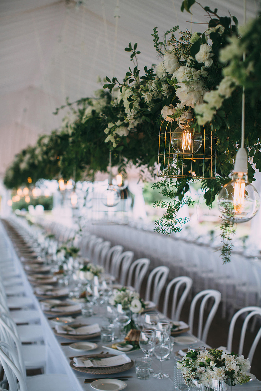 Long Table Setting With Hanging Flowers - Copper & Gold Wedding Styling Inspiration - Yesterday Creative Letterpress - Blog