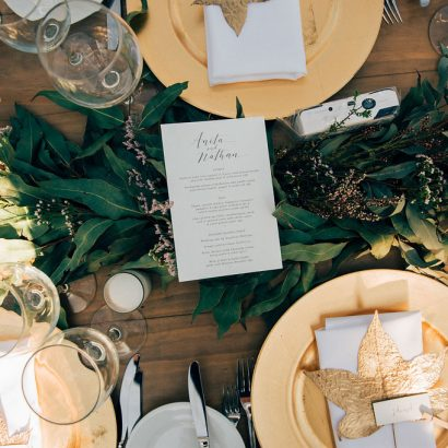 Gold Plate Full Table Setting with Leaf Place Card - Copper & Gold Wedding Styling Inspiration - Yesterday Creative Letterpress Blog
