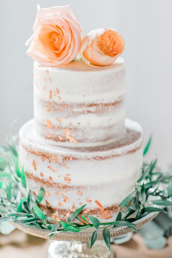 Tiered Naked Wedding Cake - Foil Leaf and fresh Rose - Copper & Gold Wedding Styling Inspiration - Yesterday Creative Letterpress - Blog