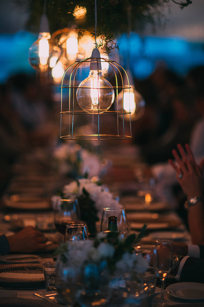 Wire Copper Hanging Lights with Edison Bulb - Copper & Gold Wedding Styling Inspiration - Yesterday Creative Letterpress - Blog