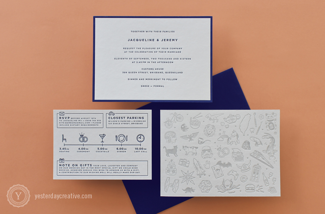 Yesterday Creative Letterpress Wedding Invitation suite - Jacqueline & Jeremy - Modern, Minimal, Grey Navy