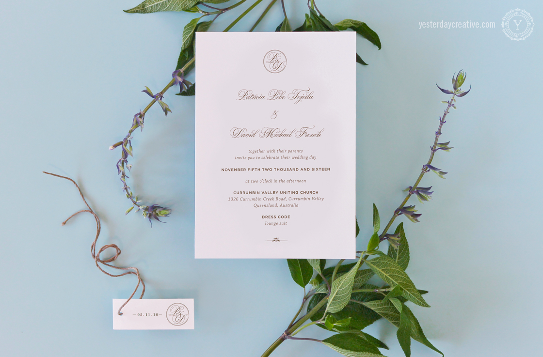 Classic Monogram - Yesterday Creative — Letterpress and Foil Wedding ...