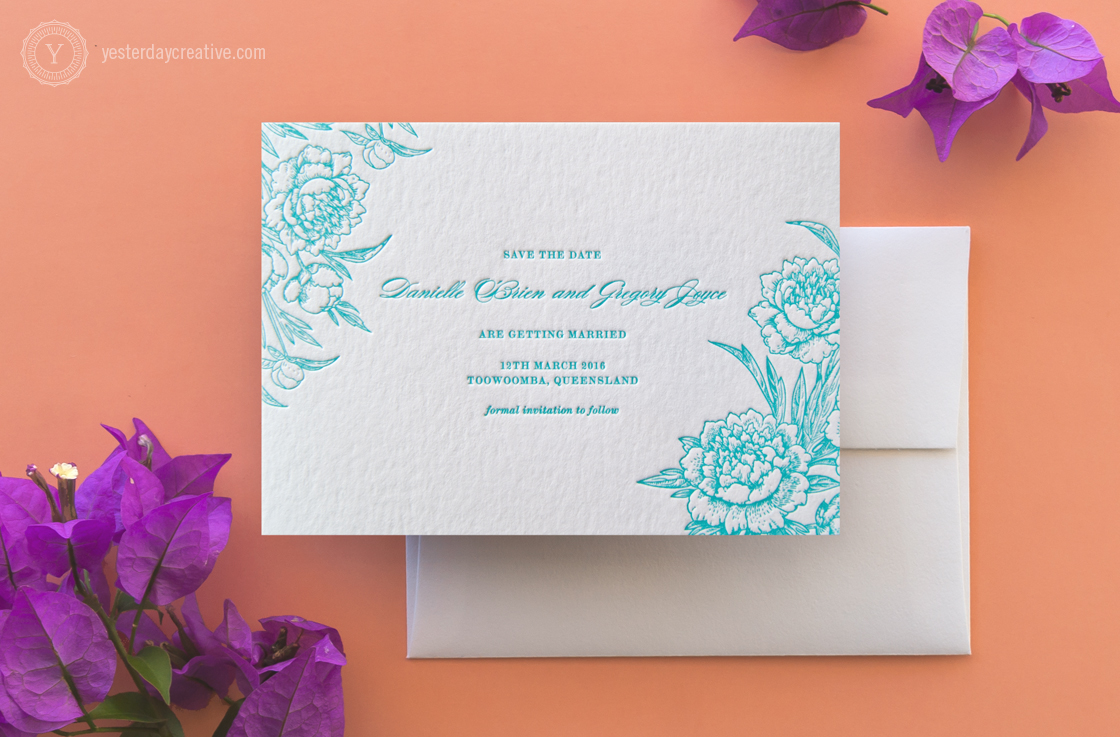 Classic Vintage Floral Letterpress Wedding Invitation suite - Save the Date Card