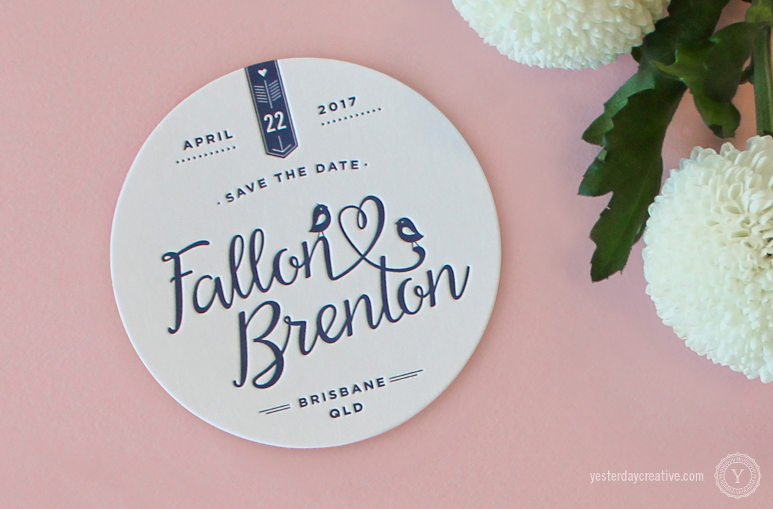Yesterday Creative Letterpress Wedding Stationery Brisbane -Design & Print - Fallon & Brenton, Navy Blue Save The Date Coasters - Detail
