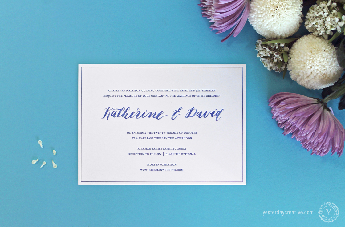 Yesterday Creative Letterpress Wedding Stationery Brisbane, Design & Print - Katherine & David Invitation printed in Royal Blue on white cotton paper with blue watercolour hand script