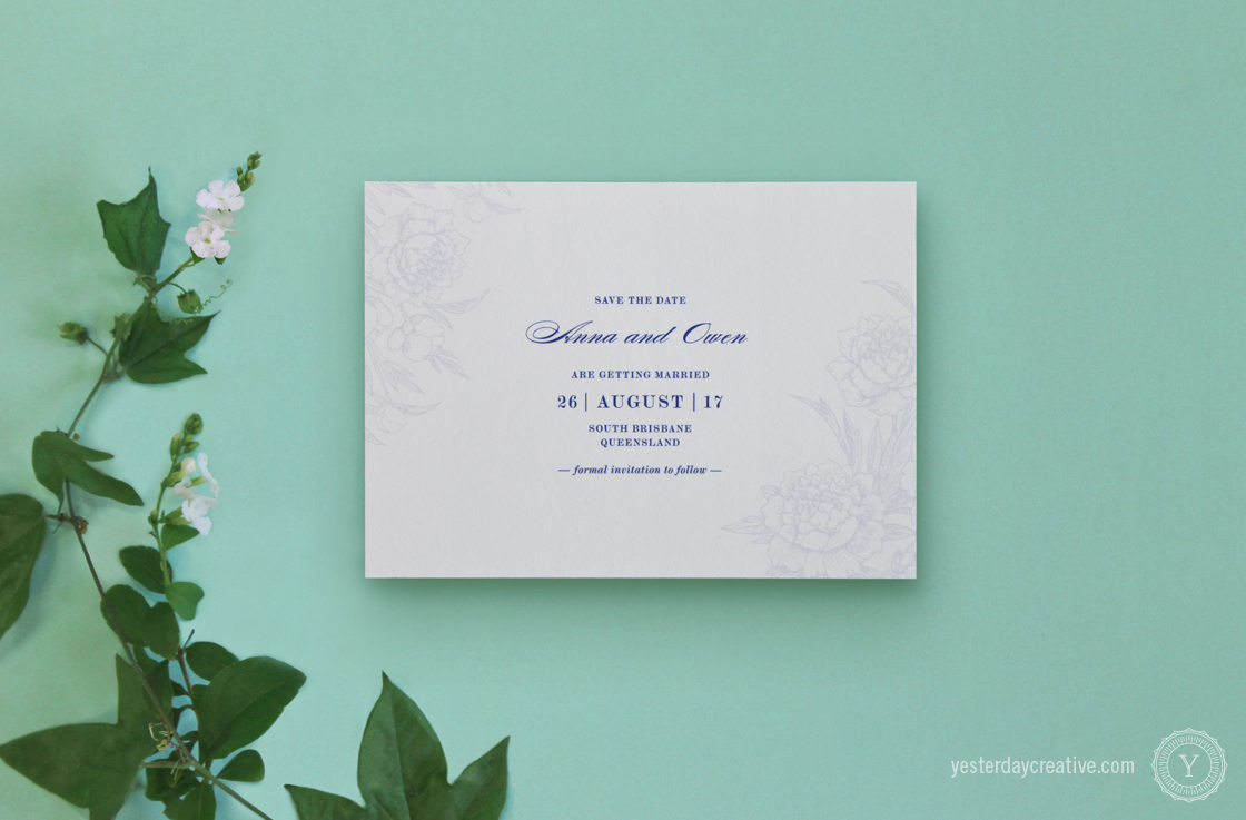 Yesterday Creative Letterpress Wedding Stationery Brisbane -Design & Print - Anna & Owen, Save the Date - Vintage floral, classic script typesetting and floral rose/peony elements digitally printed in navy blue.