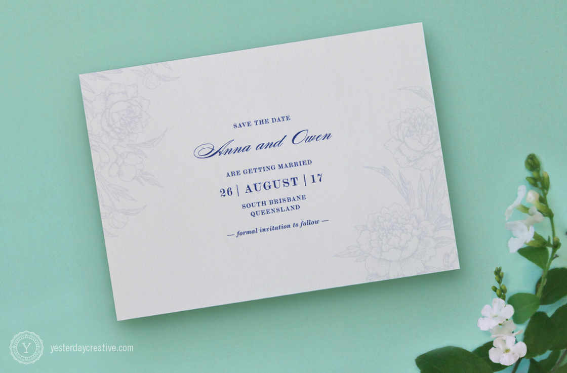 Yesterday Creative Letterpress Wedding Stationery Brisbane -Design & Print - Anna & Owen, Save the Date - Vintage floral, classic script typesetting and floral rose/peony elements digitally printed in navy blue - Detailed view.