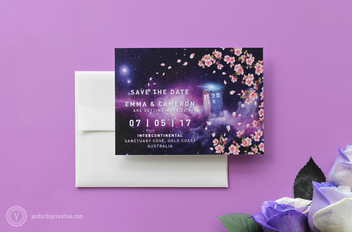 Yesterday Creative Letterpress Brisbane -Design & Print - Wedding & Event Stationery - Emma & Cameron - Save the Date card, digitally printed Doctor Who themed custom design featuring pink cherry blossoms and the Tardis with a galaxy background and white typesetting.