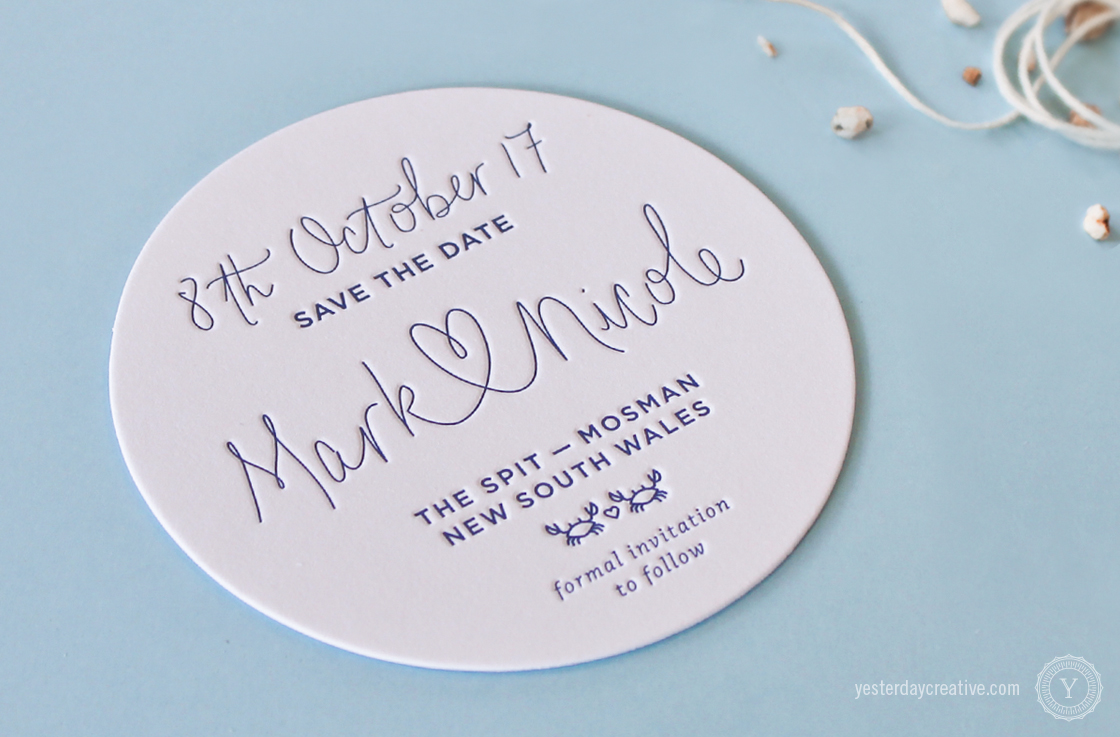 Yesterday Creative Letterpress Wedding Stationery Brisbane -Design & Print - Mark & Nicole's heart script & custom seaside themed Save The Date Coasters printed in Navy Blue - Detail