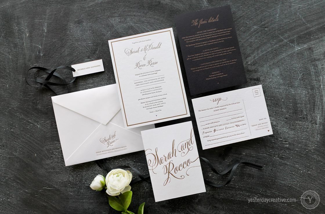 Yesterday Creative Letterpress Wedding Stationery Brisbane, Design & Print - Sarah & Rocco Typographie suite printed in metallic gold ink on white cotton paper