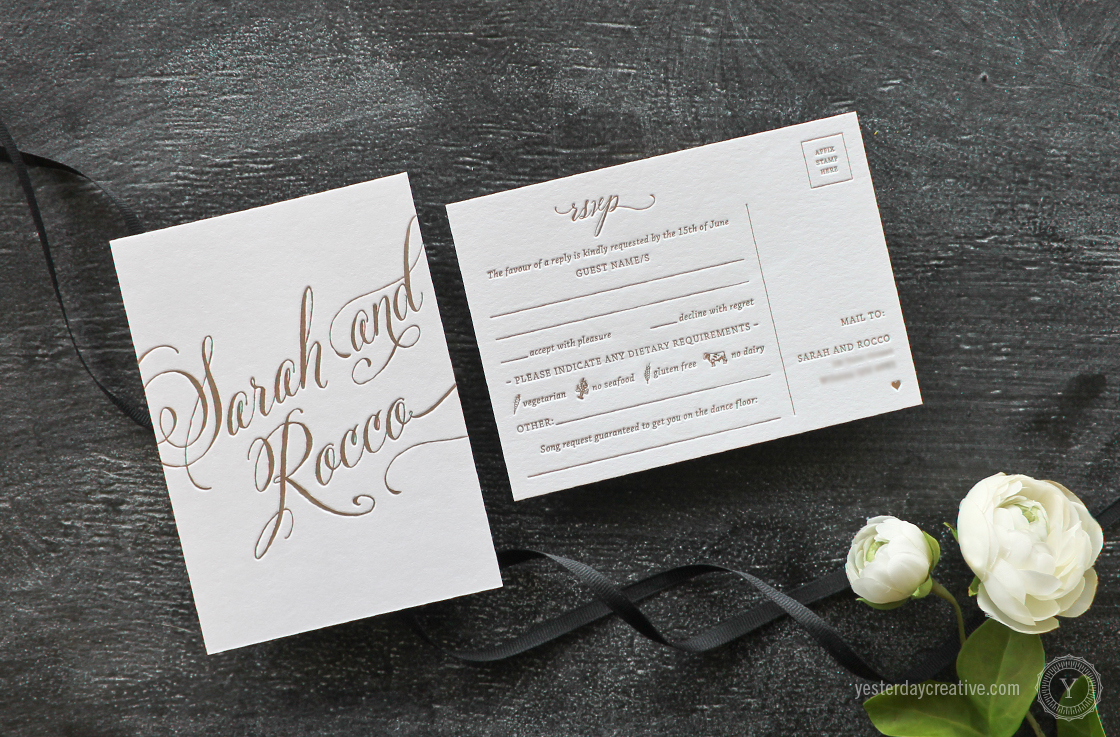 Yesterday Creative Letterpress Wedding Stationery Brisbane, Design & Print - Sarah & Rocco Typographie suite printed in metallic gold ink on white cotton paper, RSVP card