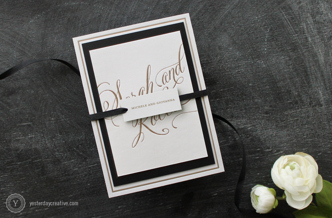 Yesterday Creative Letterpress Wedding Stationery Brisbane, Design & Print - Sarah & Rocco Full Typographie suite printed in metallic gold ink on white cotton paper, wrapped with swing tag