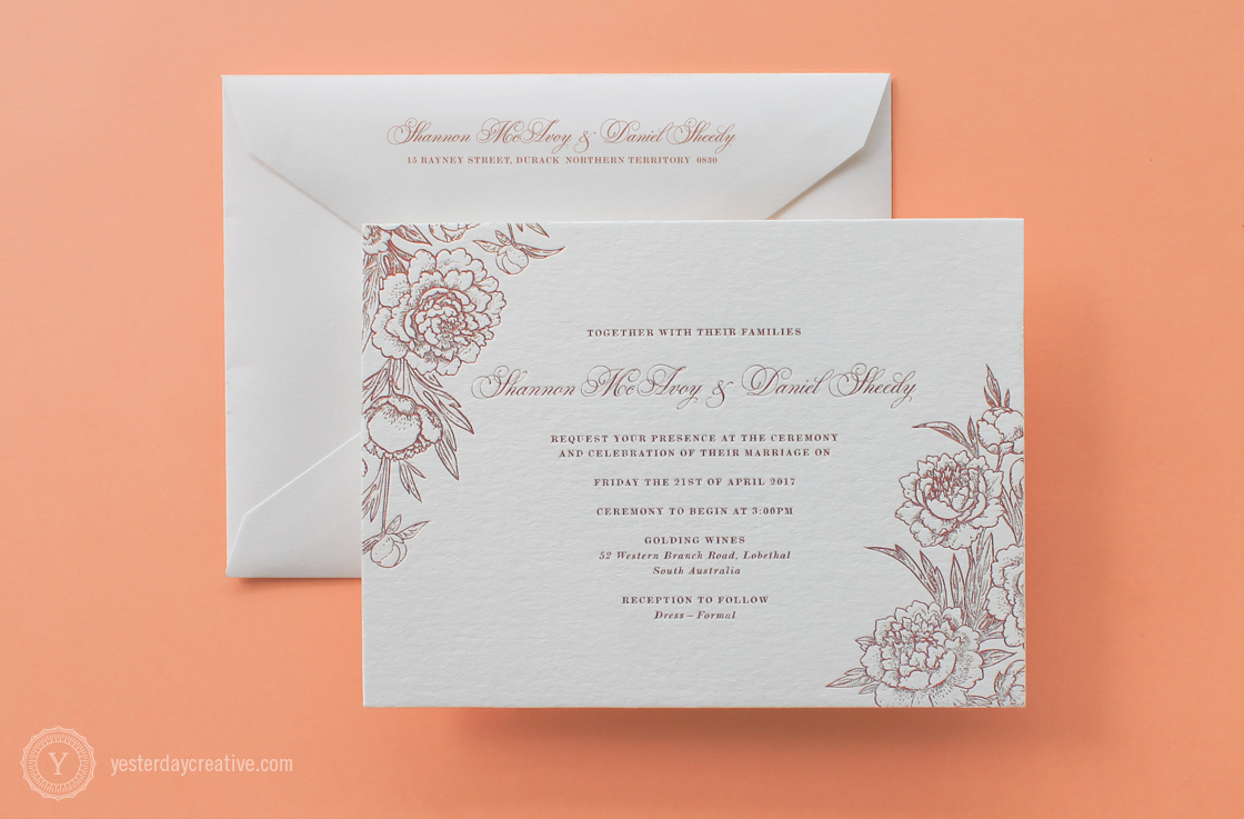 Shannon&DanielYesterdayCreativeLetterpressStationery_RoseGoldFoil_WeddingInvitation
