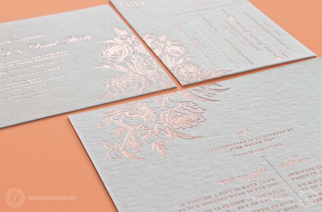 Shannon&DanielYesterdayCreativeLetterpressStationery_RoseGoldFoil_WeddingInvitation detail