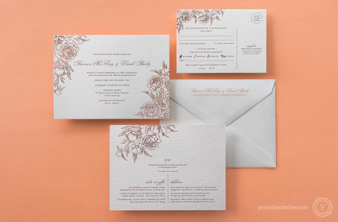 Shannon&DanielYesterdayCreativeLetterpressStationery_RoseGoldFoil_WeddingInvitation Full Suite