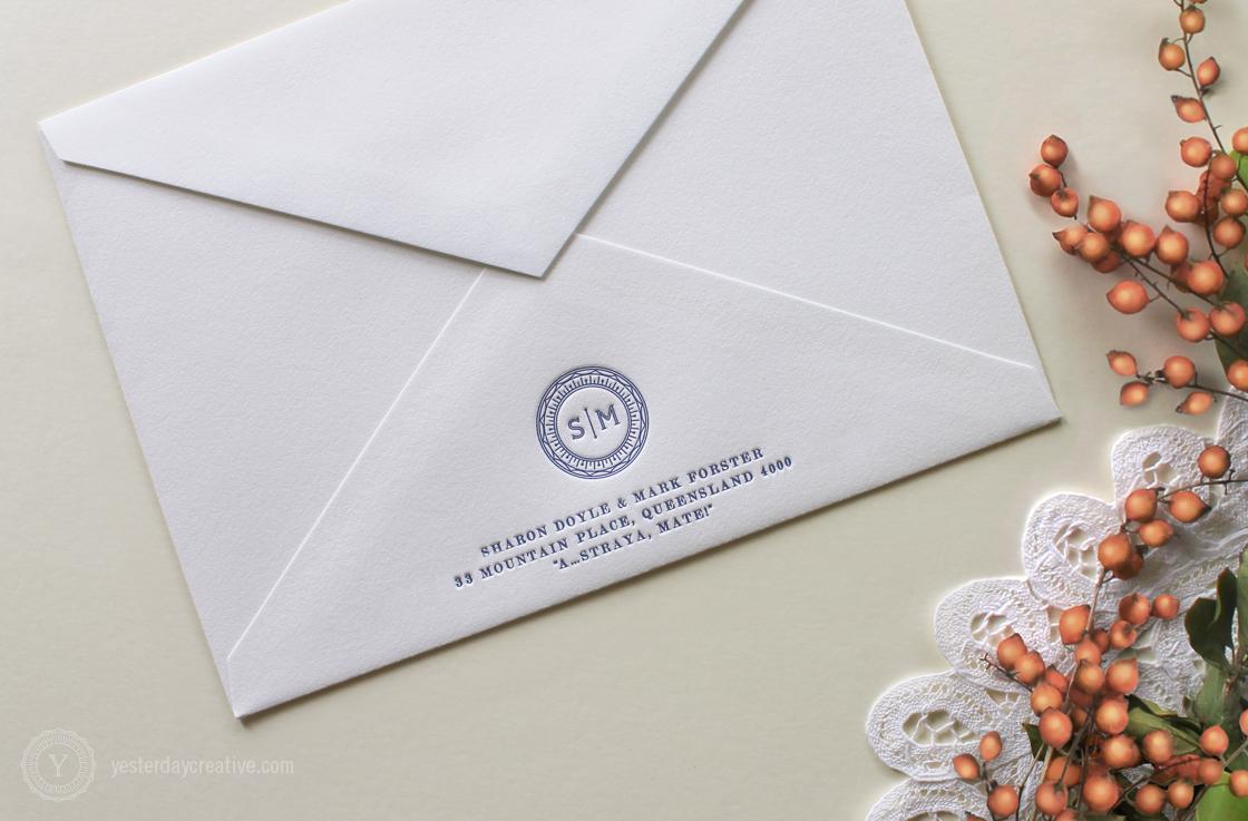 Sharon & Mark YesterdayCreativeLetterpressStationery_RoseGoldFoil_WeddingInvitation Navy Blue Monogram_Envelope