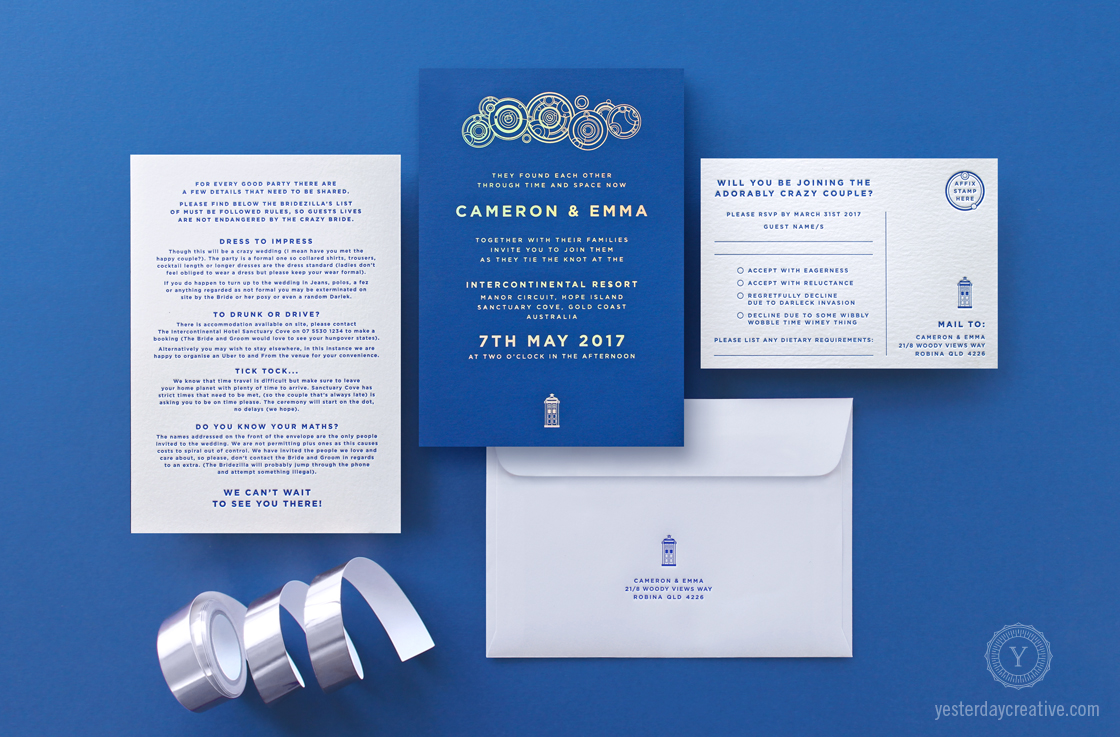 Emma & Cameron's custom designed Yesterday Creative Letterpress Wedding Stationery Doctor Who themed Invitation suite duplexed with silver Holographic Foil in Indigo paper