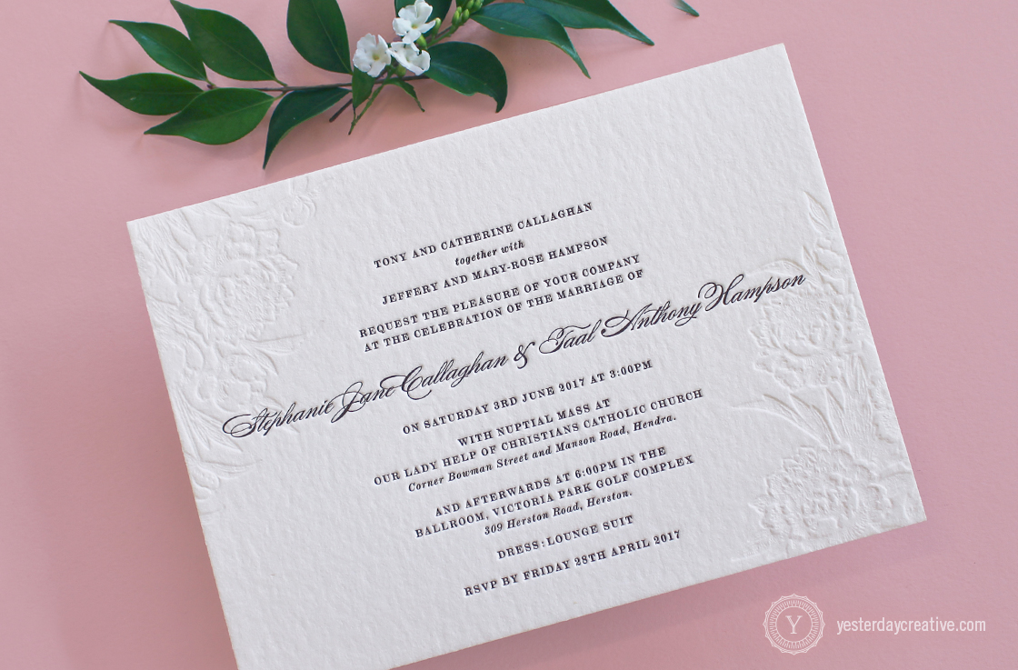 Vintage Floral Letterpress Wedding Invitation, 2 Colours, Black Ink and Blind emboss
