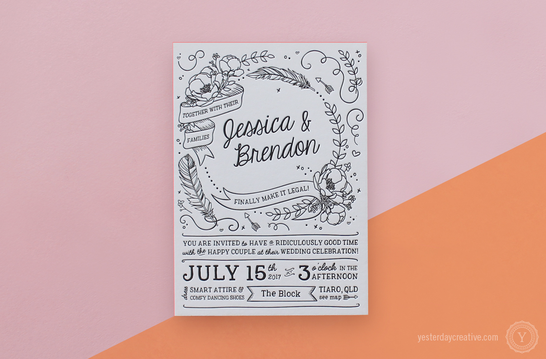 Jessica & Brendon custom illustrated Letterpress Wedding invitation printed in black Ink on white cotton paper with coral pink edge painting
