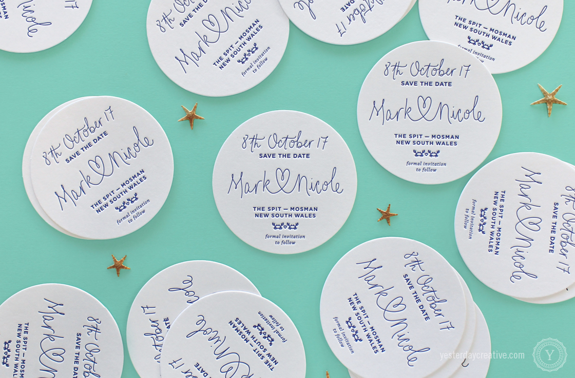 Yesterday Creative Letterpress Wedding Stationery Brisbane -Design & Print - Mark & Nicole's heart script & custom seaside themed Save The Date Coasters printed in Navy Blue.