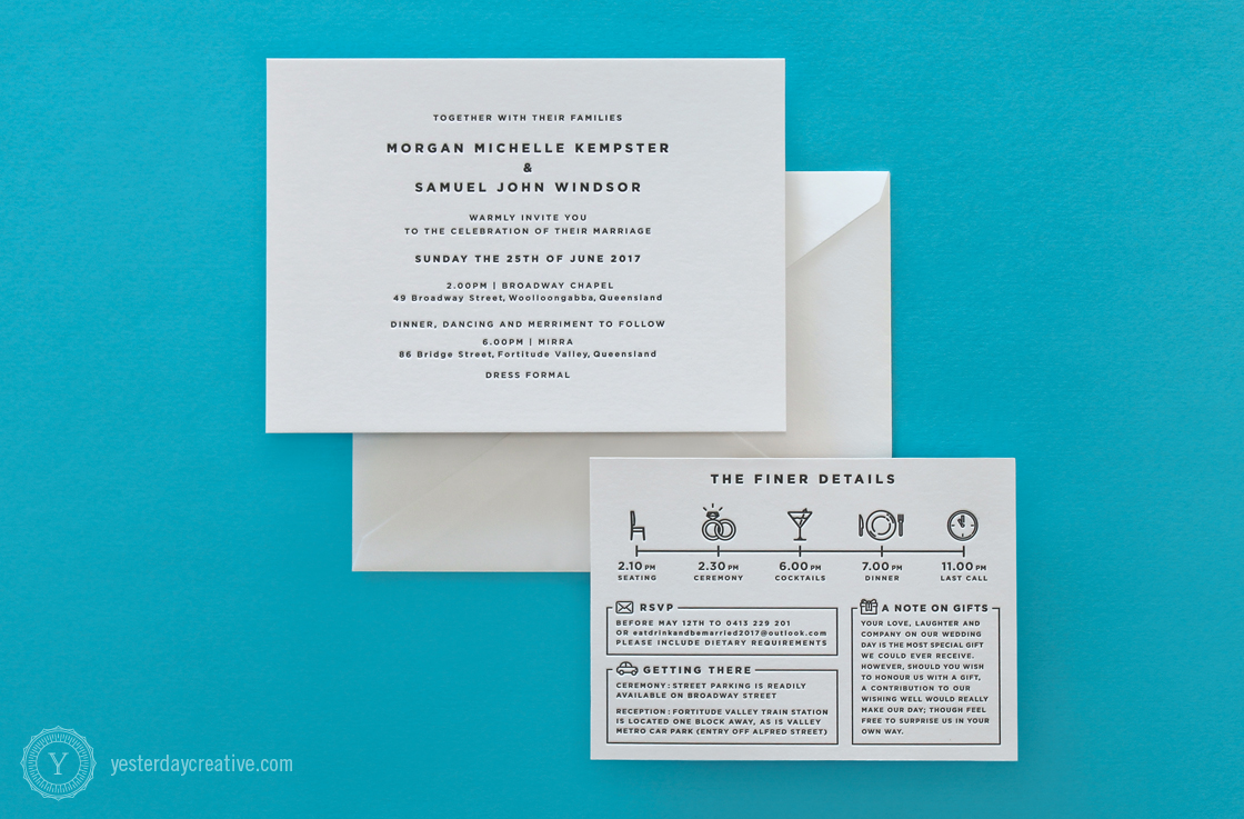 Morgan & Sam opted for a modern, minimal design for their letterpress wedding stationery. With simple typesetting printed in black ink on white cotton paper with a matching information card featuring an illustrated timeline of events for their wedding day.