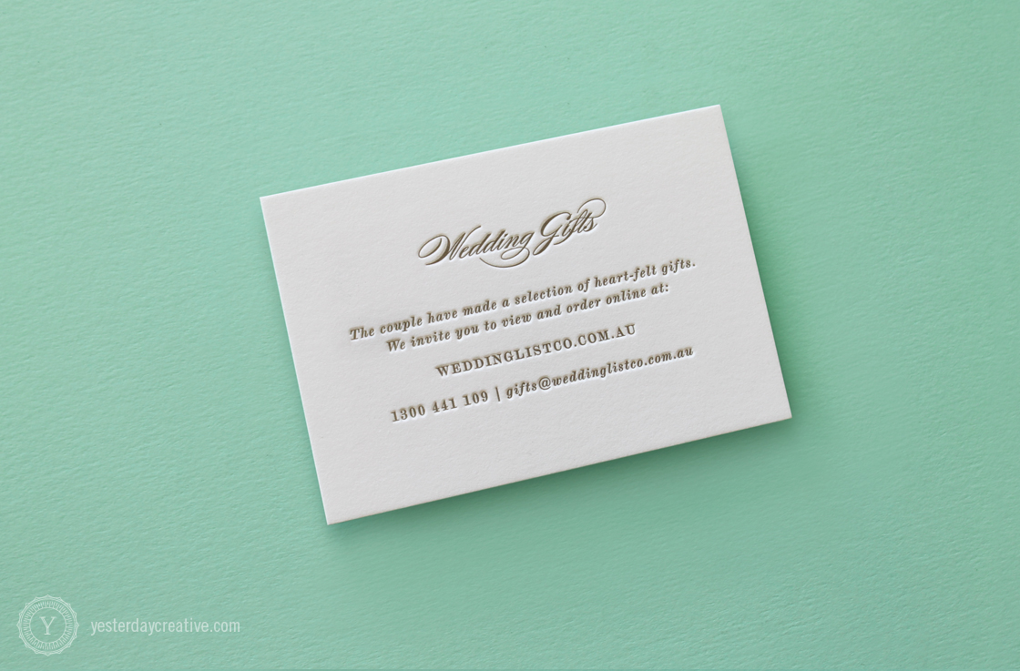 Anna & Owen Gift Card Letterpress Wedding Stationery