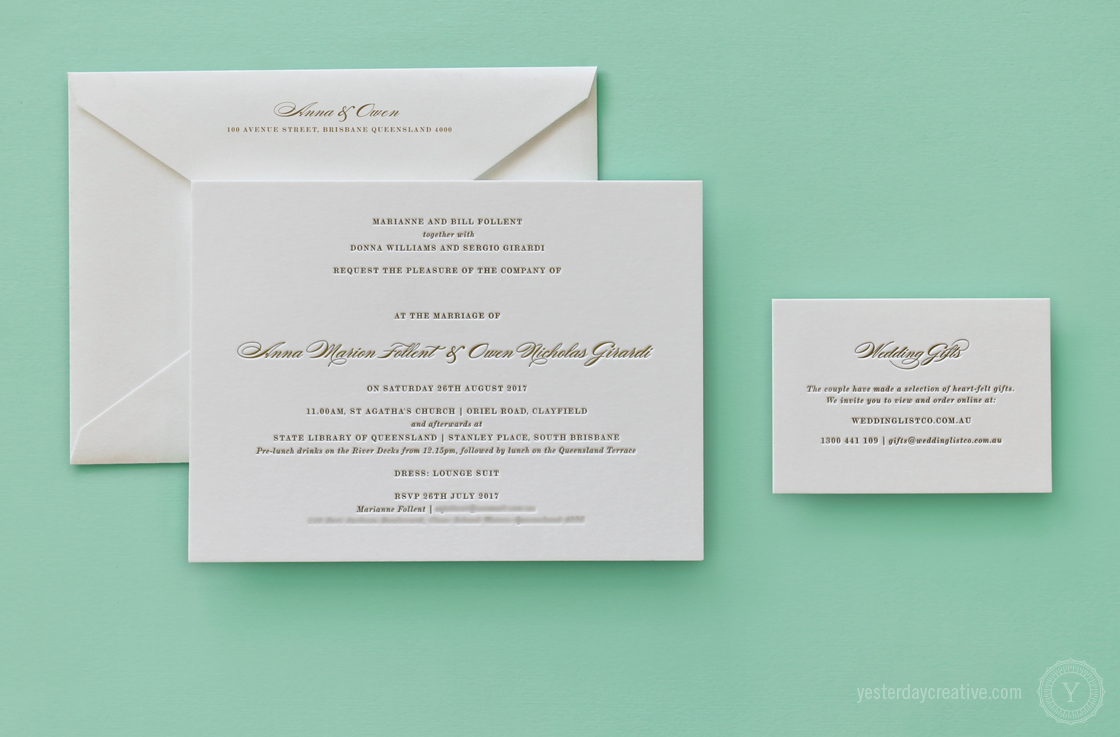 Anna & Owen Suite Letterpress Wedding Stationery
