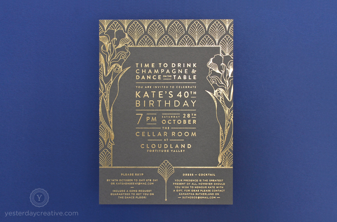 Yesterday Creative Letterpress Birthday Invitations Cloudland Gold Foil