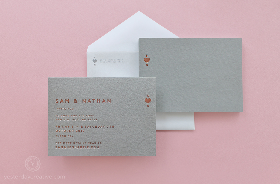 Yesterday Creative Letterpress Rose Gold Foil Grey Card