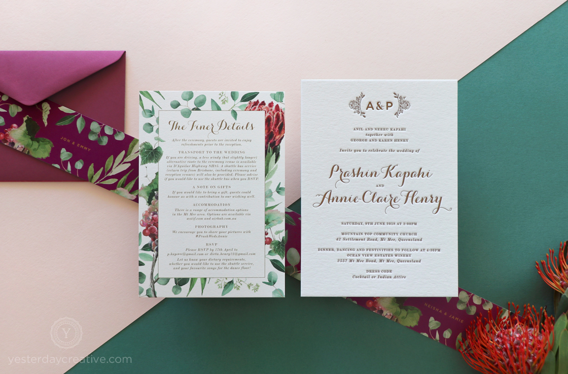 Yesterday Creative Letterpress Native Floral Wedding Stationery
