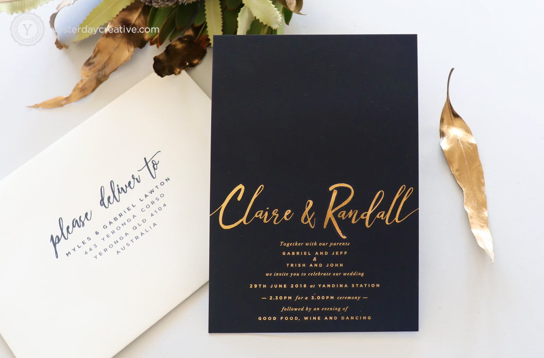 Yesterday Creative Letterpress Gold Foil Wedding Invitations