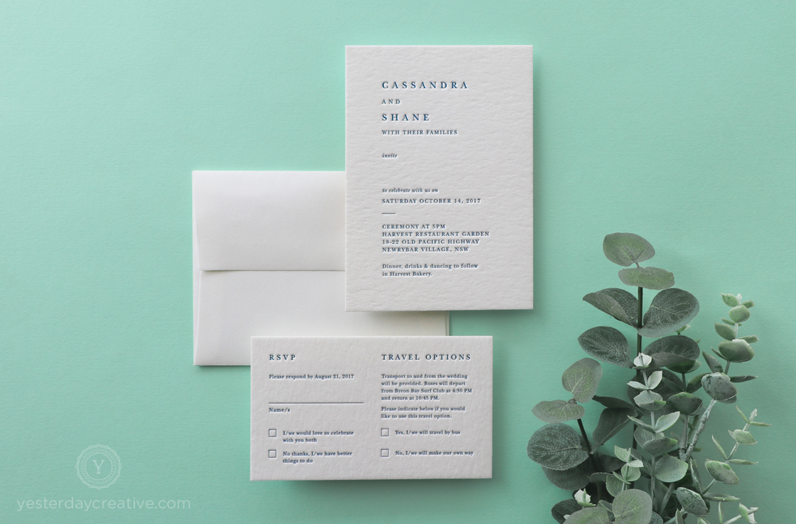 Yesterday Creative Letterpress Navy Wedding Invitations Stationery Byron Bay Simple