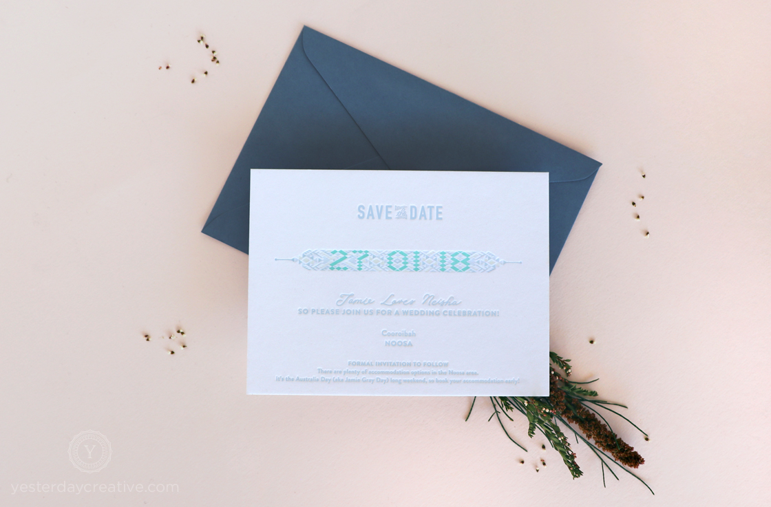 letterpress mountain destination winter wedding save the date cards