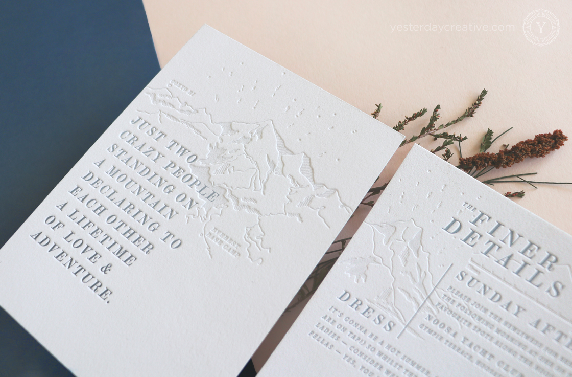 yesterday creative letterpress wedding invitations mountains travel