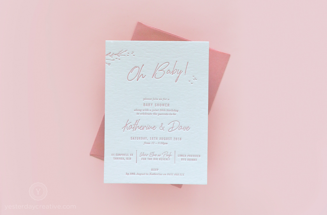 Yesterday Creative Letterpress Baby Shower Gender Reveal 30th Birthday Script Modern Floral