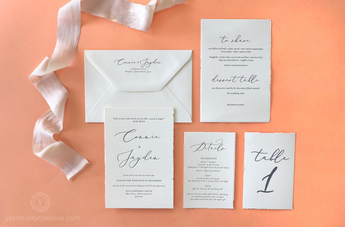 Yesterday Creative Letterpress Wedding Invitations Typographic Minimal Calligraphy Classic Modern Deckle Edge Charcoal
