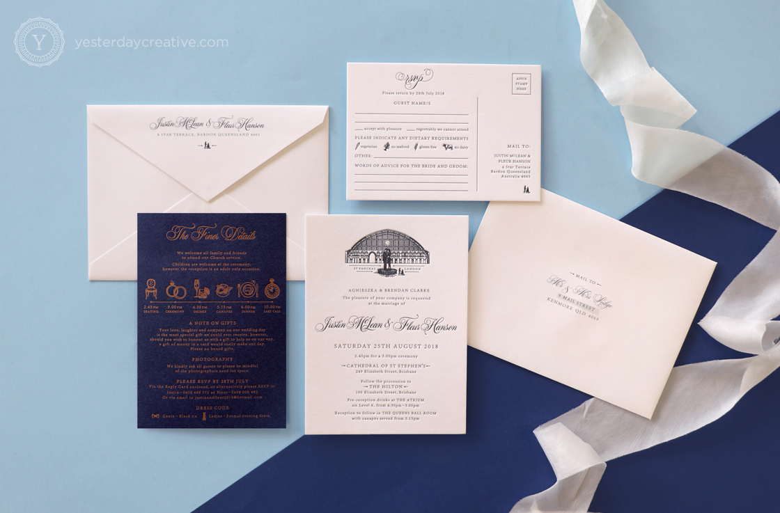 Yesterday Creative Letterpress Wedding Invitations Romance Vintage London St Pancras Station Illustration Destination Icons Navy Custom Envelopes Stationery Suite Silk Ribbon