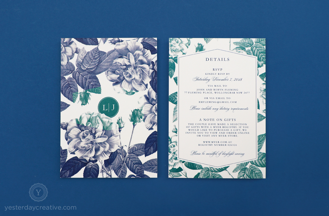 Yesterday Creative Letterpress Wedding Stationery Invitations Modern Rose Details Card Digital Flowers Floral Style