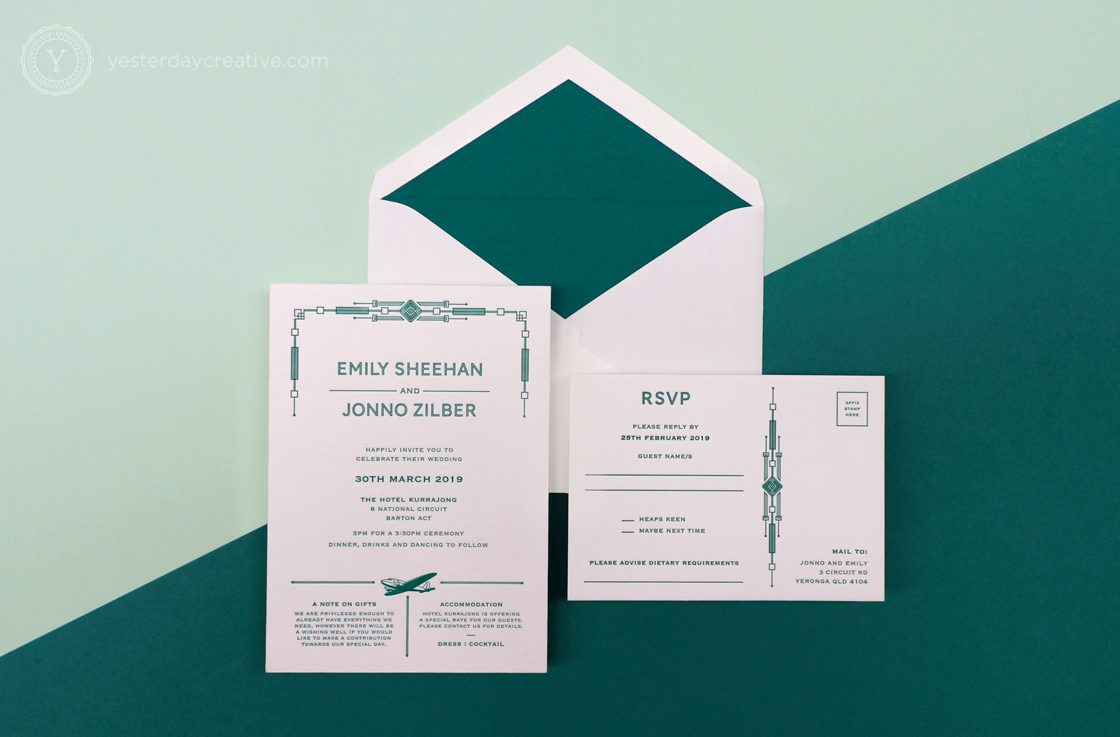Yesterday Creative Letterpress Canberra Wedding Invitation RSVP Card Art Deco Aviation Plane Aircraft Pattern Kurrajong Hotel Emerald