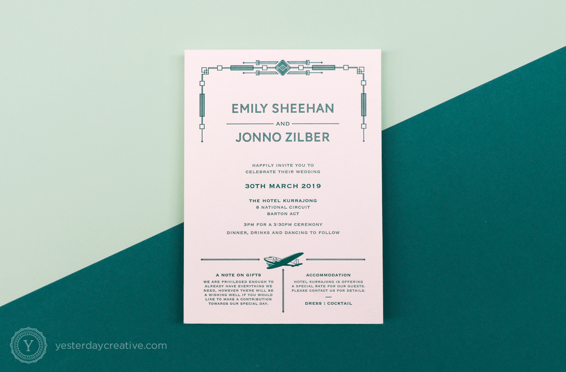 Yesterday Creative Letterpress Canberra Wedding Invitation RSVP Card Art Deco Aviation Plane Aircraft Pattern Kurrajong Hotel Emerald Stationery